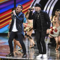 "Silvestre Dangond, left, and Nicky Jam perform ""Materialista"" at the 16th annual Latin Grammy Awards at the MGM Grand Garden Arena on Thursday, Nov. 19, 2015, in Las Vegas. (Photo by Chris Pizzello/Invision/AP)"