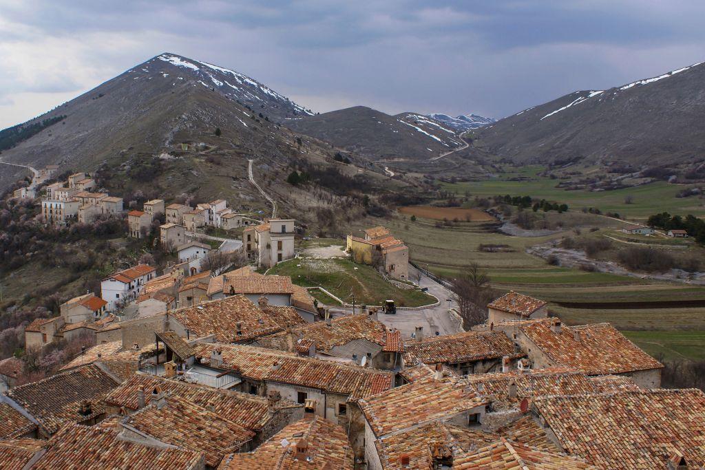 Cityscape. View from the Tower Medicea. Landscape. Santo Stefano di Sessanio. Abruzzo. Italy. Europe