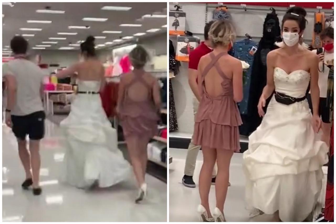 ¿Le tocó? Mujer llega vestida de novia y con un sacerdote a donde su pareja