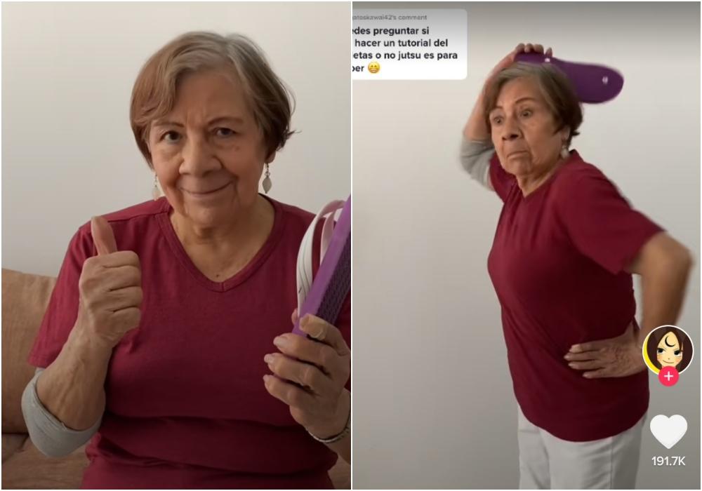 Abuela se vuelve viral en TikTok por hacer tutoriales de cómo dar chancletazos