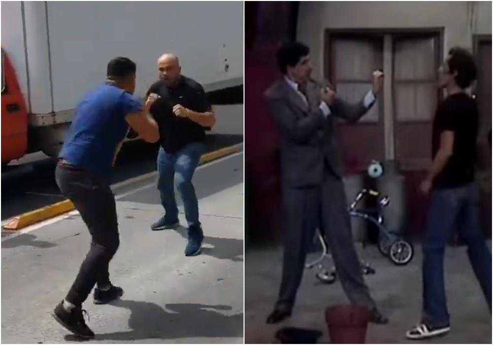 Hombres protagonizan una pelea y en redes la comparan con una escena del Chavo del 8