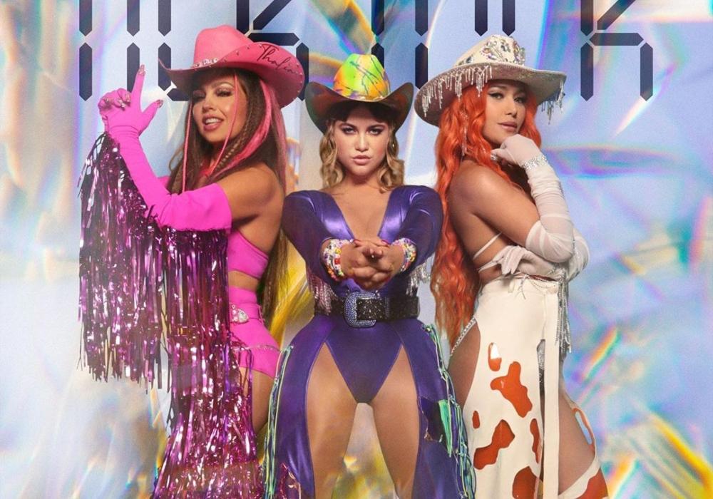 Vestida de vaquera, Thalía protagoniza sensual baile junto a Farina y Sofía Reyes
