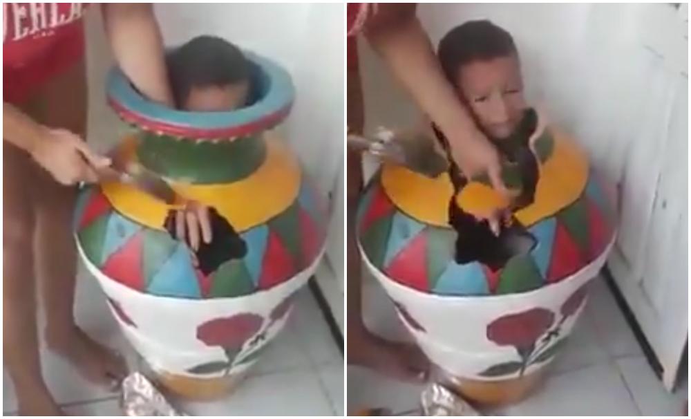 Video: niño quedó atrapado en un jarrón y su rescate es viral