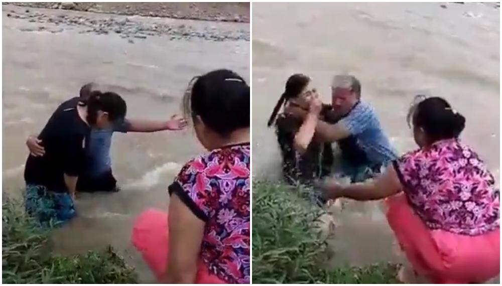 Video: bautizan a mujer en un río y termina arrastrada por la corriente del agua