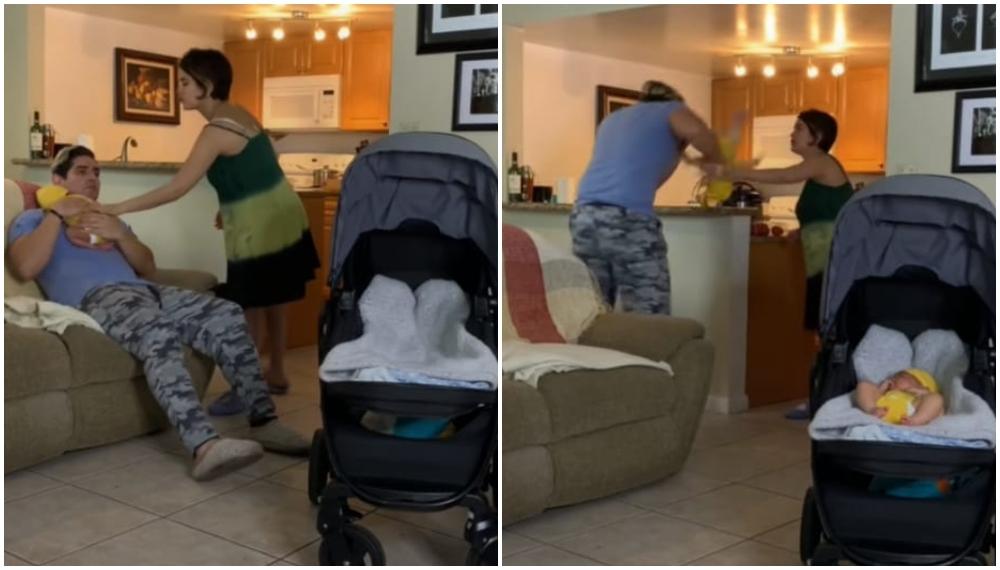 Video: joven hace una pesada broma a su esposa y finge estrellar al bebé contra la pared
