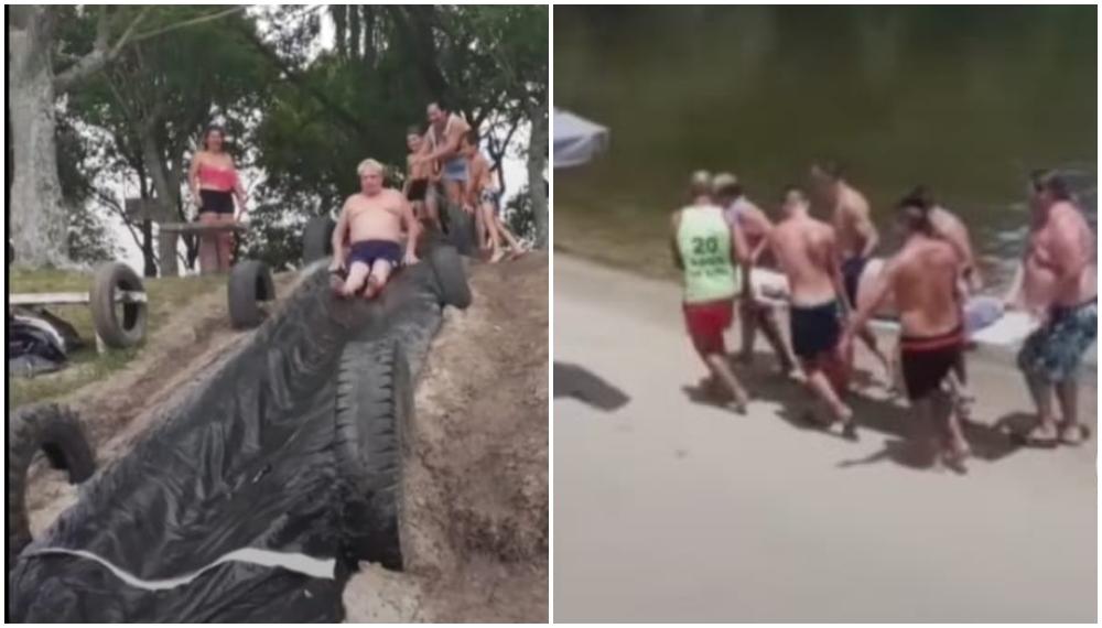 Video: hombre se lanza por un tobogán y tuvieron que sacarlo en camilla