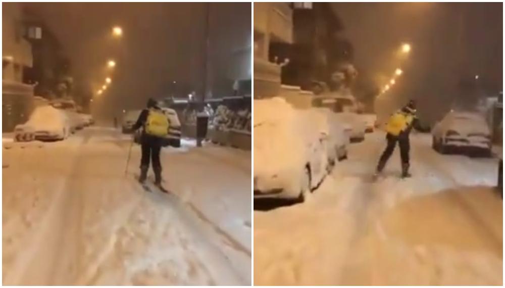 Video: repartidor sale esquiando a entregar un domicilio en plena tormenta de nieve