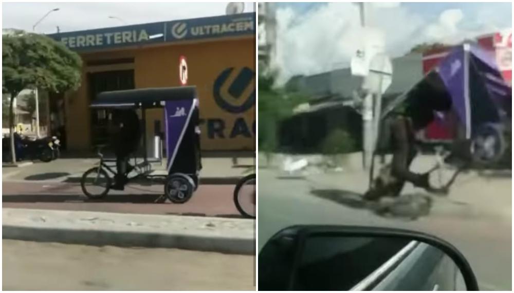 Policía inmovilizó un bicitaxi, lo manejó y terminó volcándose